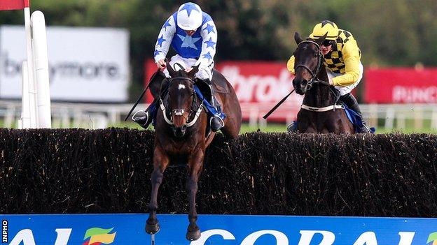 Ruby Walsh on the way to winning the Punchestown Gold Cup before immediately announcing his retirement