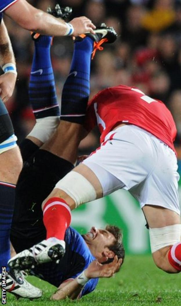 Sam Warburton was sent off for this tackle against France at the 2011 World Cup