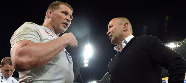 Dylan Hartley and Eddie Jones pictured after England's historic win over Australia