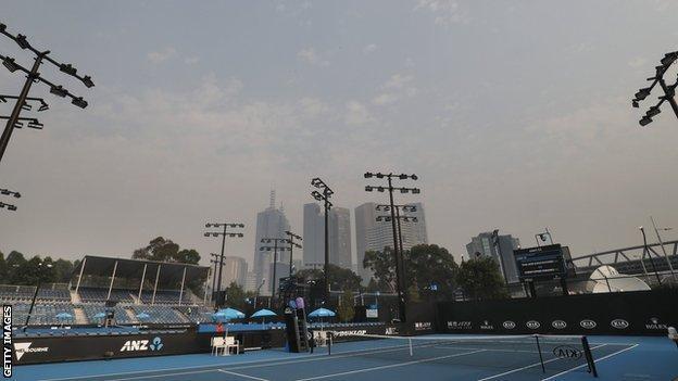 Smoke haze over Melbourne from Melbourne Park