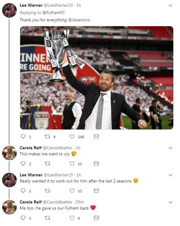 Reaction from Fulham fans saying they want to cry