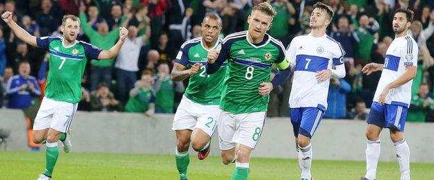Northern Ireland skipper Steven Davis puts the hosts ahead with a first-half penalty