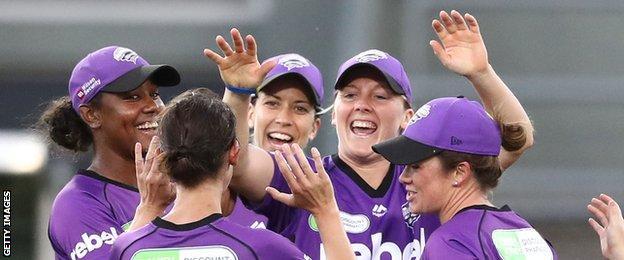 Hobart Hurricanes celebrate a wicket
