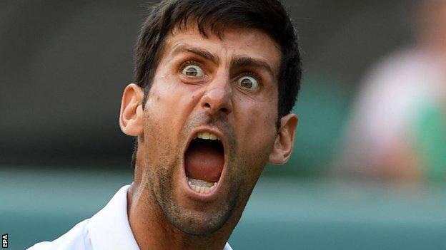Novak Djokovic celebrates Kyle Edmund win