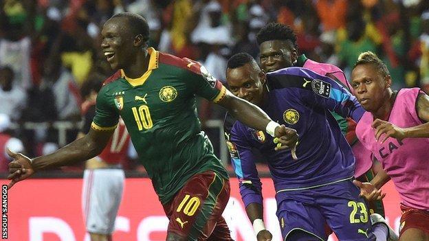 Vincent Aboubakar (left) scored Cameroon's winner in the Nations Cup final