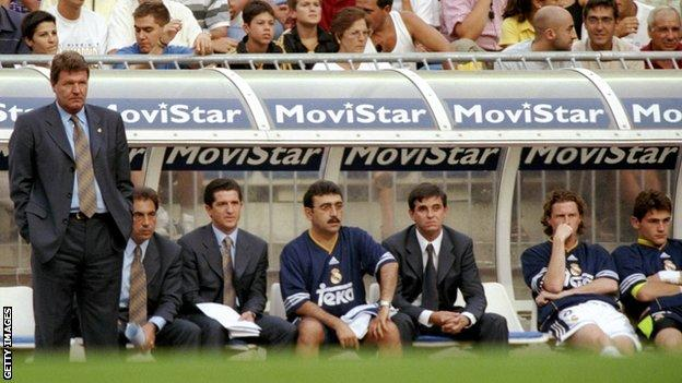 John Toshack in the dugout at Real Madrid