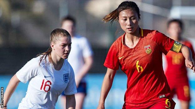 Shen Mengyu in action for China U20s against England in 2019