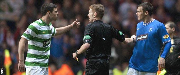 Darren O'Dea and Lee McCulloch exchange opinions in a league game at Celtic Park in 2010