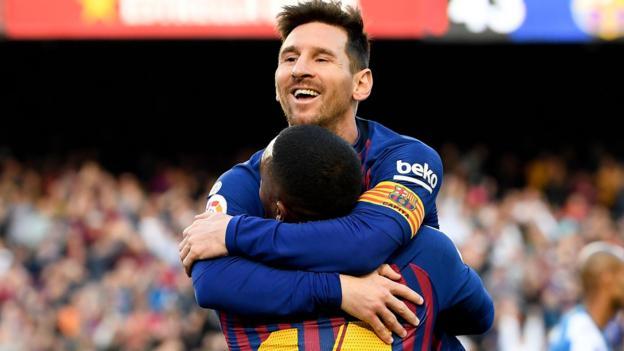 Barcelona 2-0 Espanyol: Lionel Messi scores late derby double thumbnail