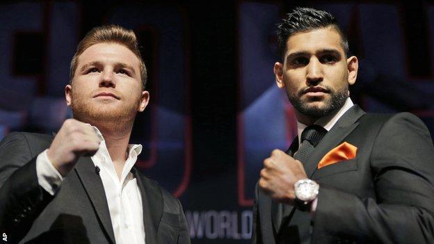 Saul Alvarez and Amir Khan