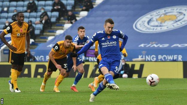 Jamie Vardy scores a penalty for Leicester City against Wolverhampton Wanderers