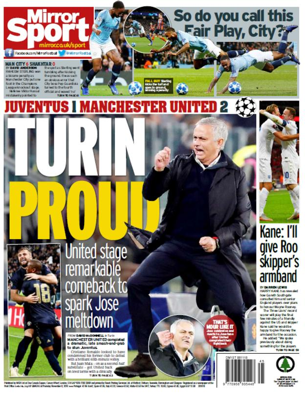 Daily Mirror back page on Thursday