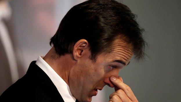 An emotional Julen Lopetegui at his unveiling as Real Madrid coach