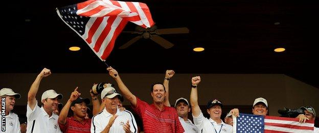 Paul Azinger and his team celebrate victory in the 2008 Ryder Cup at Valhalla