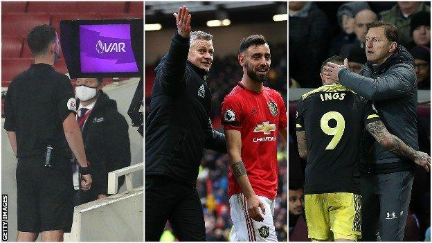 Referee looks at VAR monitor, Ole Gunnar Solskjaer and Bruno Fernandes, Ralph Hasenhuttl and Danny Ings