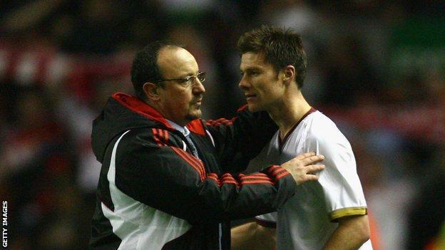 Former Liverpool manager Rafael Benitez and ex-Reds midfielder Xabi Alonso