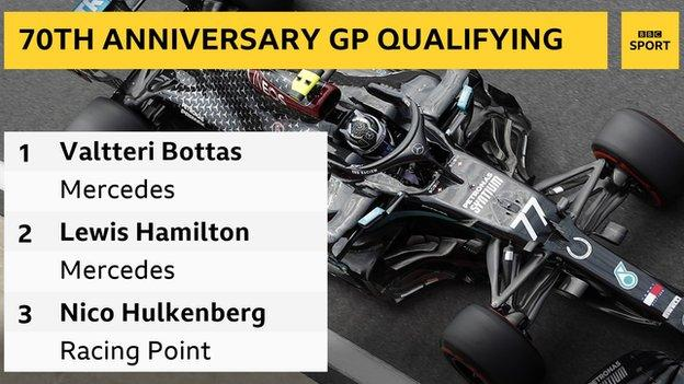 70th Anniversary Grand Prix qualifying result: 1st Valtteri Bottas, 2nd Lewis Hamilton, 3rd Nico Hulkenberg