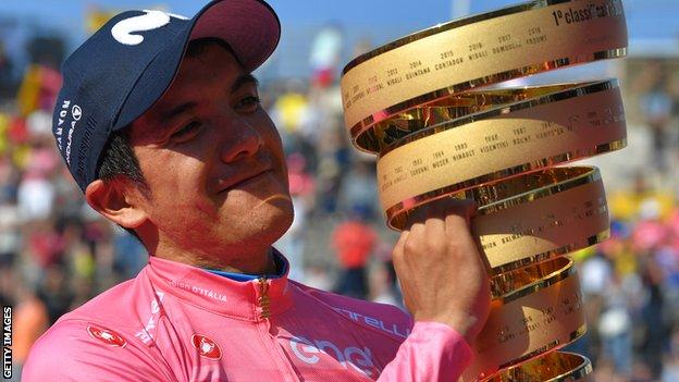 Richard Carapaz celebrates winning the Giro d'Italia in 2019