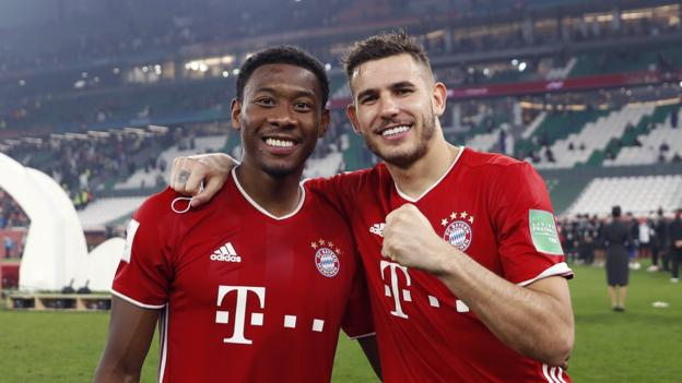 Bayern Munich's David Alaba and Lucas Hernandez