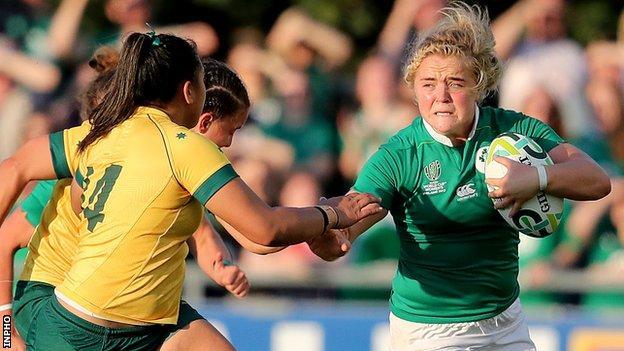 Cliodhna Moloney of Ireland in action against Australia's Narita Marsters