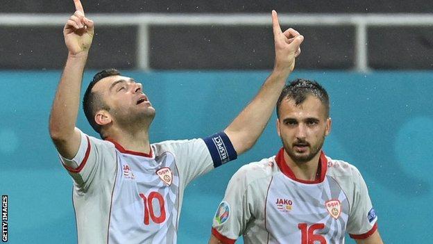 Goran Pandev celebrates scoring at Euro 2020