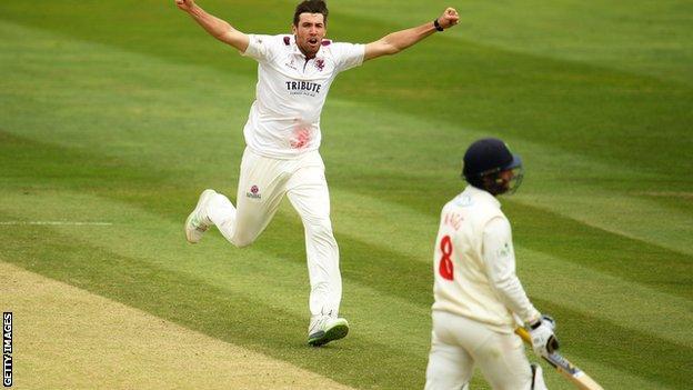 Jamie Overton celebrates wicket