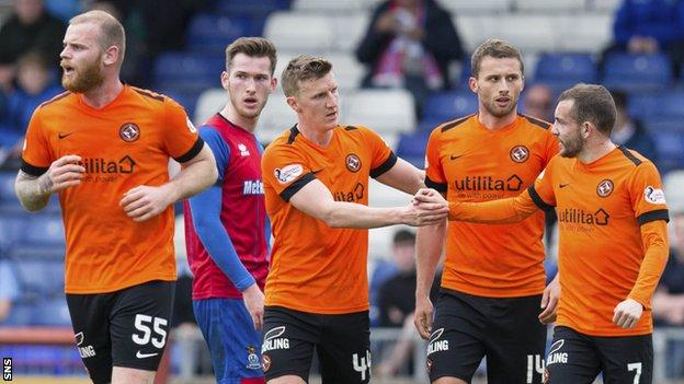 Dundee United players celebrate scoring against Inverness