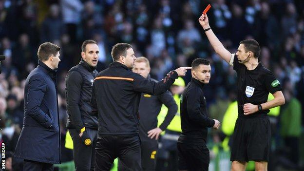 Michael Beale was shown a red card late in Rangers' win at Celtic Park on 29 December