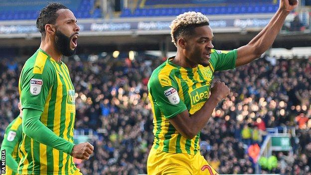 West Bromwich Albion celebrate Grady Diangana's equaliser at Birmingham City