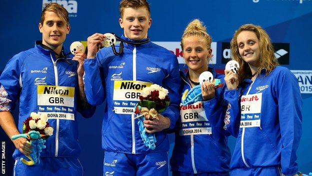Chris Walker-Hebborn, Adam Peaty, Siobhan-Marie O'Connor and Francesca Halsall of Great Britain poses with their Silver medal after coming second in the Mixed 4x50m Medley Relay Final