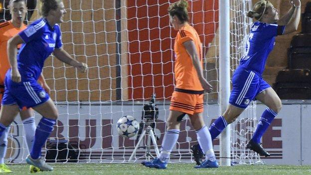 Gilly Flaherty grabbed Chelsea's third goal on the night