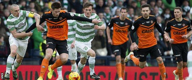 Celtic and Dundee United players during the 2015 Scottish League Cup final