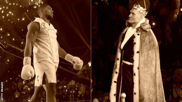 A split image of Anthony Joshua and Tyson Fury walking to the ring