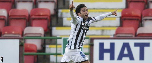 Faissal El-Bakhtaoui celebrates scoring for Dunfermline