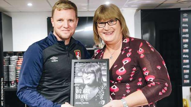 Sophie Cook, the former club photographer at AFC Bournemouth, with then-manager Eddie Howe