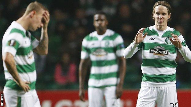 Celtic's Leigh Griffiths and Stefan Johansen show disappointment