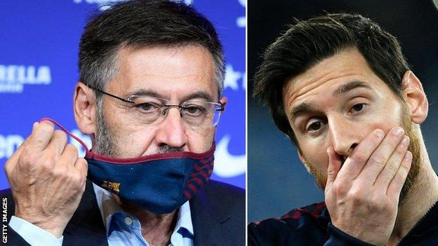 Lionel Messi (right) has had a public falling out with Bartomeu (left)
