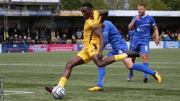 Isaac Olaofe scores for Sutton against Hartlepool