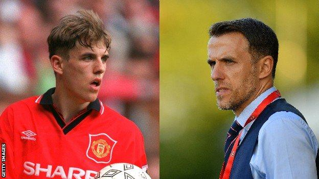 Phil Neville in 1995 and 2018