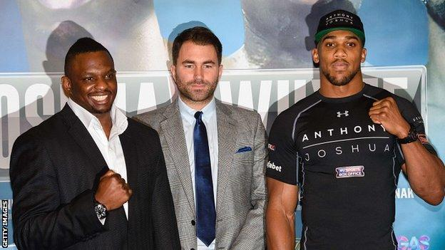 Dillian Whyte, Eddie Hearn and Anthony Joshua