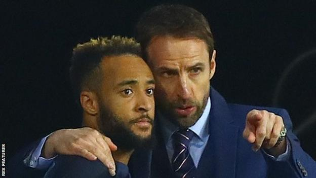 Nathan Redmond with England manager Gareth Southgate