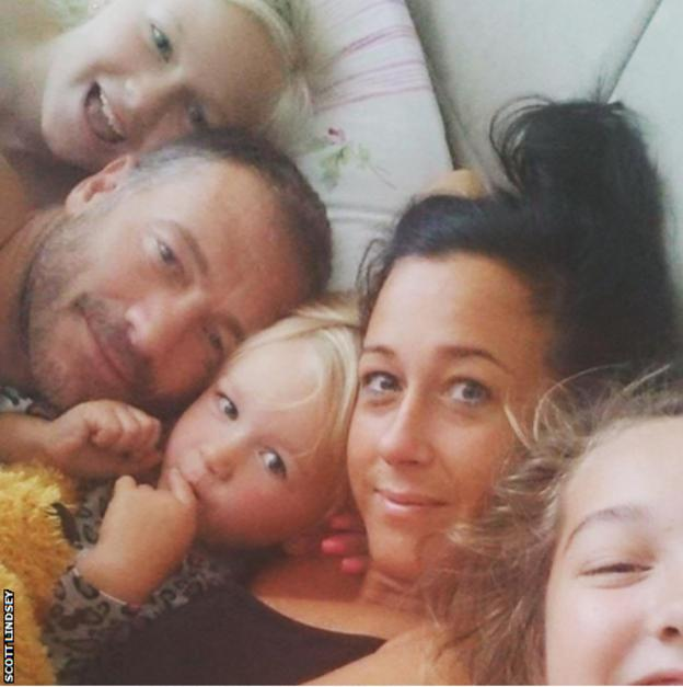 Scott Lindsey with his wife Hayley and daughters Millie, Maisie and Mollie