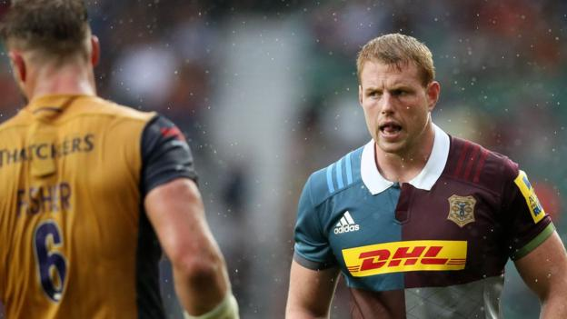 George Merrick: Harlequins lock out with neck injury - BBC Sport