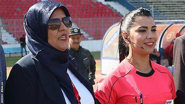 Dorsaf Ganouati with former match official Monia Bedoui