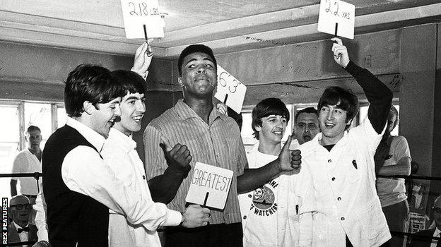 The Beatles meet Muhammad Ali at the boxer's training camp in Miami in 1964
