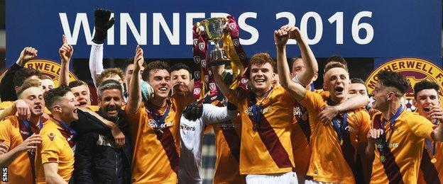 Motherwell with the Scottish Youth Cup