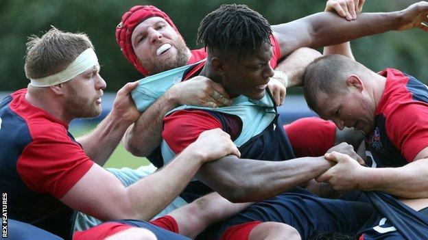 George Kruis, James Haskell and Dylan Hartley battle with Maro Itoje at a maul during England training