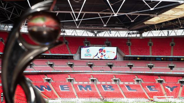 Wembley with Women's Euro 2022 logo on the giant screen