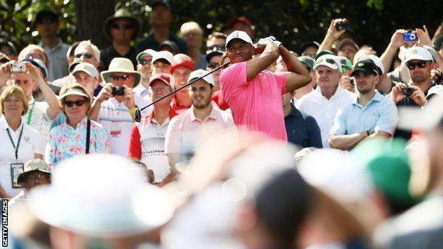 Tiger Woods practising at Augusta on Monday
