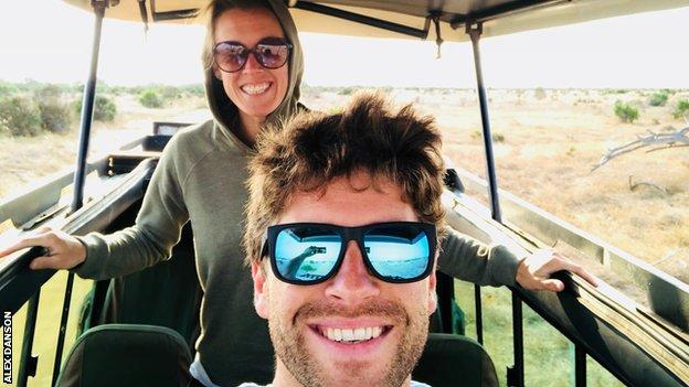 Danson and her fiance on safari